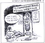 Jim Adcock cartoon appearing in the October 27, 2004 edition of the Ocean Pines Gazette. County Commissioner Judy Boggs forbids video of her Town Meeting at the Ocean Pines Library on 10/23/2004.