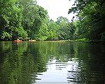 The Tuckahoe River widens and is easy to paddle on a short distance north of Hillsboro, MD.  6/26/2007