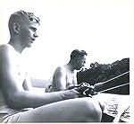 Tom Hemmick (left) fishes with his dad on the Choptank River around 1948.