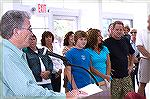 OPA president Bill Zawacki addresses the gathering at the Ocean Pines indoor pool grand opening in 2007.
