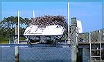 Large osprey nest built on boat. Or could this be an eagle's nest?