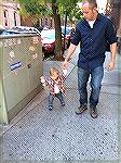 My son, Kelly, showing Jackson how to keep pace on the New York City streets.