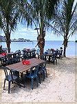Mackys Bayside at 53rd st offers the opportunity to enjoy a meal on the beach.